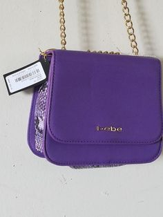 ccae13fd7ee9 Ladies Crossbody Bag, bebe, Purple,Reptile Accent, Gold adjustable Chain.  New