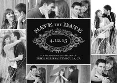 This save the date card has a classic feel with whimsical type and black and white portraits.