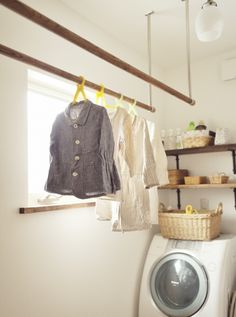 Hanging rods in the laundry room Interior Stairs, Laundry Mud Room, House Interior, House Rooms, Laundry In Bathroom, Bathroom Decor, Fashion Room, Home Decor, Living Room Designs