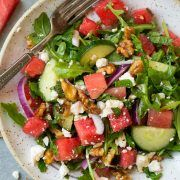 Watermelon Cucumber Salad with Feta and Lemon Dressing