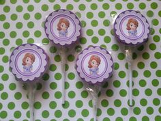 12 Sofia the first pink purple swirl pops also by bellecaps