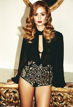 Millie Mackintosh baroque-embellished high waisted shorts and a sheer blouse - Look magazine Sep 2012