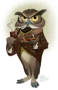 """Monsieur Owl.-m ::: an illustration by Cory Loftis. He says that he's """"mostly inspired by the Disney and DreamWorks studios. Their work is just so, so good."""" He also says to color in his works, he """"almost exclusively uses Painter and Photoshop. I typically start sketching in Corel Painter."""" Read an interview with Cory here >> http://cory-loftis-interview.blogspot.com/"""