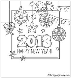 New Year Congratulation Card With Numbers Christmas Balls Stars Garlands Antistress Coloring Book For Adults