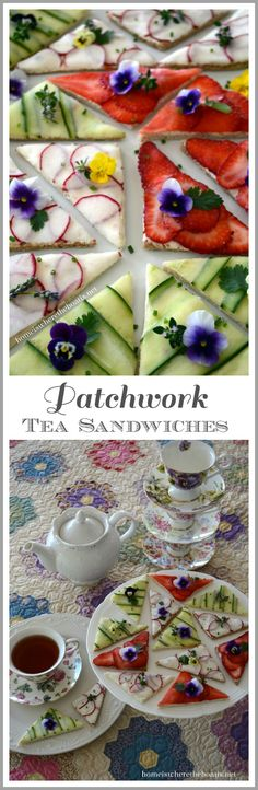 Patchwork Tea Sandwiches! A patchwork of cucumber, thinly sliced radishes, and strawberries on top of a cream cheese spread. Garnish with edible flowers and herbs. | homeiswheretheboatis.net #tea