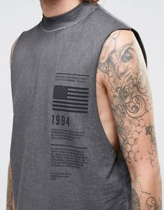 Image 3 of ASOS Longline Sleeveless T-Shirt With Print And Oil Wash