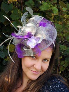 Silver  fascinator purple feathers  fascinator hat  sinamay headband fascinator hat ENCHANTED