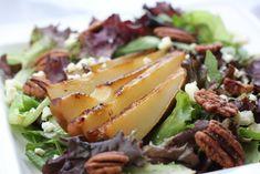 Wheat Free - Wheat Free Recipes -Roasted Pear and Gorgonzola Salad with toasted walnuts and balsamic vinaigrette (make vinaigrette has no wheat ingredients) Pear Gorgonzola Salad, Pear Salad, Salad Recipes, Healthy Recipes, Healthy Meals, Honey Recipes, Savoury Recipes, Quick Meals, Healthy Food