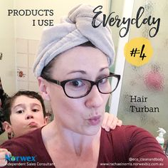 With my long hair to wash, my life is so much easier with my #norwex #hairturban After I get out of the shower I simply put it on and viola...no more cold, wet backs and quicker drying time. It quickly absorbs up to 75% of the water from your hair, resulting in little to no blow drying needed, which means savings on electricity and much healthier hair. I would be lost without my hair turban. So handy when camping too!
