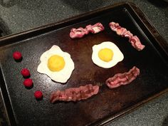 Polymer Clay bacon and eggs used for props in Bye Bye Birdie.