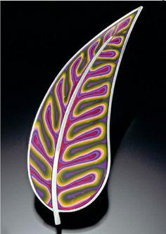 Leaf brooch by Debra Dewolff. Polymer clay and sterling silver.
