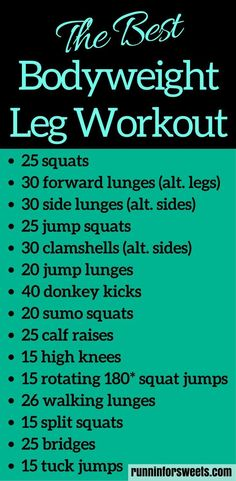 This 20 minute bodyweight leg workout for runners requires no supplies and can be done in your living room. Slim your legs and build muscle for an ideal toning workout. For the ultimate strength gain and leg burn, try these leg exercises! #legworkout #legexercises #athomeworkout