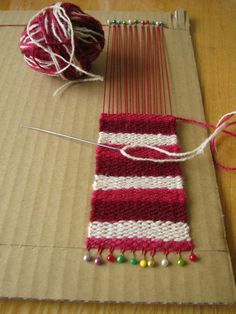 This is a good way to try out weaving to see if you like it before spending money on a loom Pin Weaving, Weaving Art, Weaving Patterns, Loom Weaving, Tapestry Weaving, Yarn Crafts, Sewing Crafts, Diy And Crafts, Weaving Projects