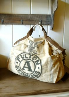 Eagle Fulton Seeds- Vintage Seed Feed Sack Messenger Bag- Americana OOAK  Canvas   Leather Tote ffc2f0ccfb