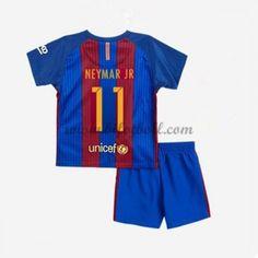 Billiga Fotbollströjor Kits Barcelona Barn 2016-17 Neymar Jr 11 Kortärmad Hemma Fotbollsdräkter