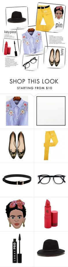 """Shein_Key Piece: Blue Embroidered Shirt"" by tarparamu on Polyvore featuring moda, By Lassen, Kate Spade, Maison Margiela, Lipstick Queen e LORAC"