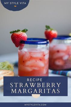 A super easy and delicious strawberry margarita recipe perfect for Cinco de Mayo happy hour and everything in between. Delicious strawberries and tequila come together for an easy summer strawberry margarita on the rocks! Strawberry Margarita Recipe On The Rocks, Margarita On The Rocks, Skinny Margarita, Strawberry Recipes, Drinks Alcohol Recipes, Yummy Drinks, Drink Recipes, Cocktail Recipes, Yummy Food