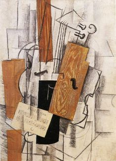 Violin and Sheet Music on a Table (Petit Oiseau) : Georges Braque : Synthetic Cubism : still life - Oil Painting Reproductions Pablo Picasso, Picasso And Braque, Picasso Collage, Cubist Artists, Cubism Art, Alberto Giacometti, Georges Braque Cubism, Synthetic Cubism, Musée National D'art Moderne
