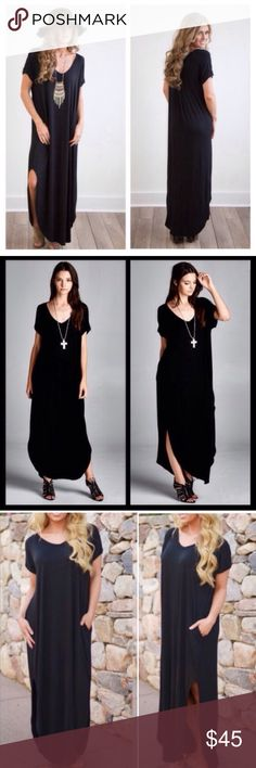 RESTOCK Black Oversized Maxi Side Slit Dress Brand new oversized side slit maxi. RUNS BIG SIZE DOWN!! Small fits 4-8, medium 10-14, large 16-20. Gave the option for XL AND XXL as well, as it WILL fit, but L will be sent as it comes in S M L. This listing is for the black. Other colors available in my other listings. Molly Dolly Dresses Maxi