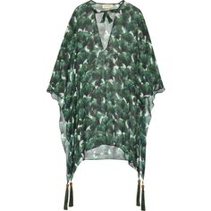 Adriana Degreas Ginkgo tassel-trimmed printed silk-chiffon kaftan (1,400 ILS) ❤ liked on Polyvore featuring tops, tunics, forest green, loose tunic, tassel top, loose fit tops, multi color tops and loose fitting tops