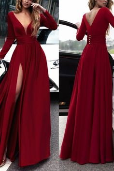red prom dress deep v-neck party dress long sleeve evening dress sexy high slit prom dress - 2020 New Prom Dresses Fashion - Fashion Of The Year Long Sleeve Evening Dresses, Prom Dresses Long With Sleeves, Gala Dresses, Prom Dresses With Sleeves, Sexy Dresses, Fashion Dresses, Dress Long, Long Sleeve Formal Dress, Red Party Dresses