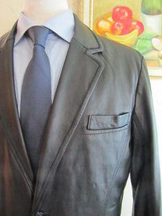 441a63135 JHANE BARNES Mens Black Leather Blazer Jacket Size 42 R Rare High end  Quality #JhaneBarnes