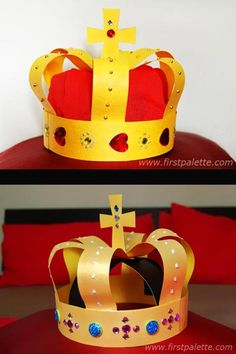 and Fairy Tale week. diy paper crown - Queen or king's crown. Could simplify for preschool.Q and Fairy Tale week. diy paper crown - Queen or king's crown. Could simplify for preschool. Medieval Crafts, Medieval Party, Crown Crafts, Diy Crown, Crown For Kids, Queen Birthday, Birthday Crowns, Birthday Diy, Paper Crowns