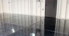 Our garage just got a major upgrade - a shiny, gorgeous gunmetal grey metallic floor using Rust-Oleum RockSolid Metallic Floor Coating. Not only does it look great, it& so much more functional! Concrete Floor Coatings, Garage Floor Coatings, Epoxy Floor, Apoxy Garage Floor, Garage Floor Paint, Basement Flooring, Basement Remodeling, Concrete Patio, Concrete Floors
