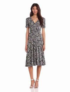 Amazon.com: Danny & Nicole Women's Faux Wrap Short Sleeve Dress, Black, 16 Missy: Clothing