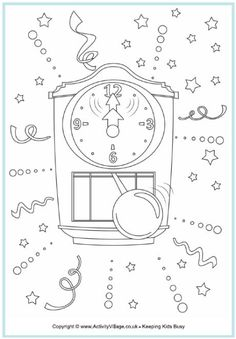 New Year colouring page, clock striking midnight