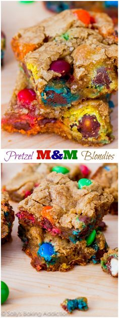 Buttery blondies filled with sweet & salty pretzel M&Ms. These are a family favorite!