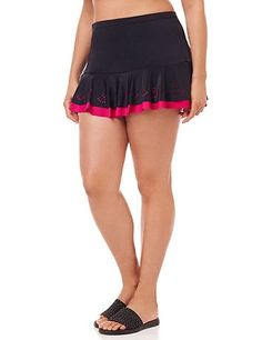 La Flor Swim Skirt   Catherines A pop of color brightens up this ruffled plus size swim skirt. The tiered design features delicate floral cutouts that let the vibrant pink shade show through. Pairs perfectly with our La Flor Swim Top. Pull-on design features elastic waist and attached panty.