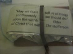 We to this quote with two pieces of some kinda candy ..that made the shape look like scriptures
