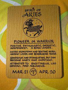 Vintage 1970s Retro Horoscope Zodiac Horoscope Sign Wooden NOS Wall Art ARIES