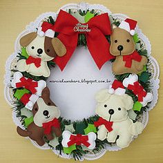 Guirlanda Natalina_Natal 2014  (M.Kuwahara) Tags: christmas dog pet natal felt guirlanda cachorro feltro guirlandadenatal guirlandadefeltro marciakuwahara