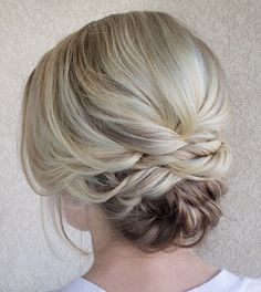 Low Twisted Updo for Shorter Hair
