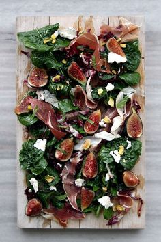 Fig, Arugula Prosciutto, Pistachios, and Humboldt Fog (Goat Cheese) Salad — it's like a cheese/charcuterie plate in salad form! What great inspiration for eating fun and healthy! I love dishes that can allow me to teach great nutrition! Charcuterie Plate, Plateau Charcuterie, Charcuterie Cheese, Cooking Recipes, Healthy Recipes, Cooking Food, Fig Recipes, Asian Cooking, Cooking Videos