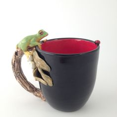 """Cuppa Companion"" Wheel formed & sculpted frog mug by Tanya Bechara~ Hop'n Frog Pottery."