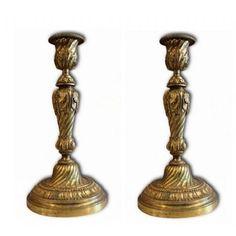 coppia di candelieri antichi in bronzo Antiquariato su Anticoantico