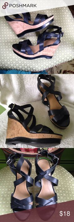 "8 Franco Sarto ""Sophie"" Black Leather Cork Wedges Lightweight and strappy sandals have 1 1/4"" platform, heels are 4"" high. This style is hard to find in the black leather! Silver buckle. Blemish on right toe, see last picture, very hard to see. So comfy to wear! Franco Sarto Shoes Wedges"