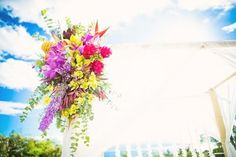 Tropical Wedding Arch Floral Bursts by Petals - Wedding by Bliss Wedding Design & Spectacular Events - Photo by Caprice Nicole Photography