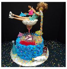 21st Bday Cake, 21st Birthday Cake For Girls, 19th Birthday Cakes, Barbie Birthday Cake, 21st Bday Ideas, Funny Birthday Cakes, Special Birthday Cakes, 21st Birthday Decorations, Christmas Cake Decorations