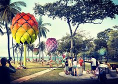 Futuristic beach huts built from recycled ocean plastic, resembling giant pine cones, in Singapore. The colorful beach huts designed by Architecture firm Spark… World Architecture Festival, Landscape Architecture, Green Architecture, Camping Pod, Camping Ideas, Plastic Beach, Blue Drawings, Clean Ocean, Strange Flowers