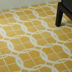 Cement floor tiles sound unexciting but don't be fooled . Here are the best contemporary cement floor tiles in gorgeous colours and stunning patterns. Bath Tiles, Mosaic Tiles, Tiling, Yellow Tile, Encaustic Tile, Design Fields, Concrete Tiles, Recycled Glass, Tile Patterns