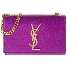 Saint Laurent Shoulder Bag - YSL Monogramme SL Star 3D Pink - in... ($1,360) ❤ liked on Polyvore featuring bags, handbags, shoulder bags, magenta, purple purse, purple shoulder bag, purple leather handbag, leather shoulder handbags and chain shoulder bag