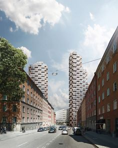 New details on OMA's Norra Tornen twin towers in Stockholm | Image Copyright OMA - bloomimages | Bustler