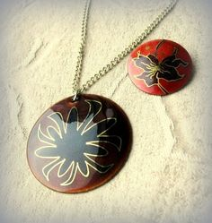 Vintage enamel Necklace and Brooch lot by by popgoesmyvintage