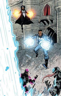 Photon & Blue Marvel in Contest of Champions - Rhoald Marcellius. Marvel Comics Art, Marvel Heroes, Marvel Dc, Gi Joe, Contest Of Champions, Comics Story, Black Panther, Marvel Universe, Comic Art