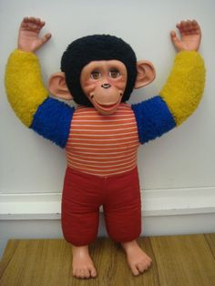 Chad Valley toys Jacko the Monkey, with his rubber face and soft body - I don't know what became of mine. 1980s Childhood, My Childhood Memories, Great Memories, Random Kid, Retro Toys, Teenage Years, My Memory, Old Toys, Vintage Dolls