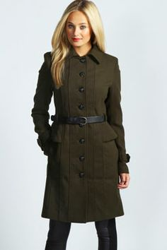 Willow Belted Peplum Military Coat at boohoo.com